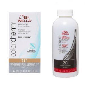 Wella Colour Charm Permanent Liquid Hair Toner Lightest Beige Blonde 11 + Wella Developer (Vol.20)