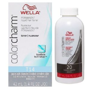 Wella Color Charm Permanent Liquid Hair Toner Pale Ash Blonde T14 & Wella Color Charm Cream Developer (vol. 20) 3.2 oz