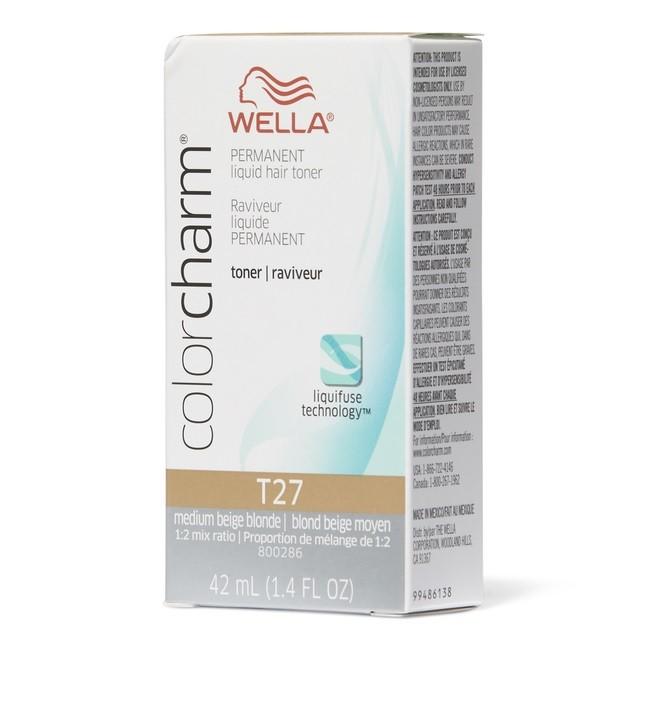 Wella Color Charm Permanent Liquid Haircolor Medium Beige Blonde T27