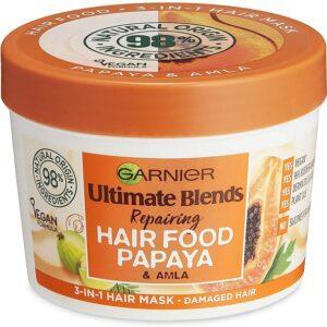 Garnier Hair Mask for Dry Damaged Hair   Papaya Hair Food by Garnier Ultimate Blends   3-in-1: Conditioner, Hair Mask, Leave-in Hair Conditioner  98% Natural Origin   390 ml