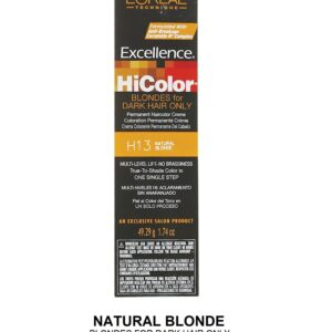 H13 Natural Blonde - L'Oreal Excellence HiColor for Dark Hair Only