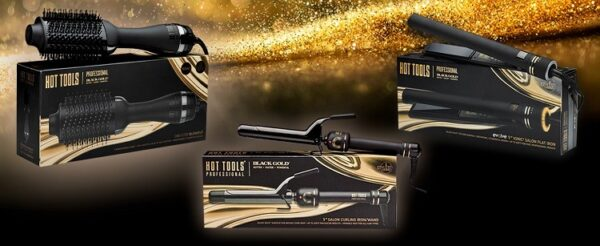 Hot Tools Professional Black Gold Spring Curling Iron/Wand for Long Lasting Curls 1.5""